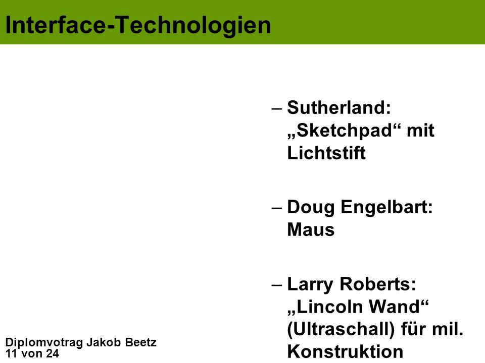 11 von 24 Diplomvotrag Jakob Beetz Interface-Technologien –Sutherland: Sketchpad mit Lichtstift –Doug Engelbart: Maus –Larry Roberts: Lincoln Wand (Ul