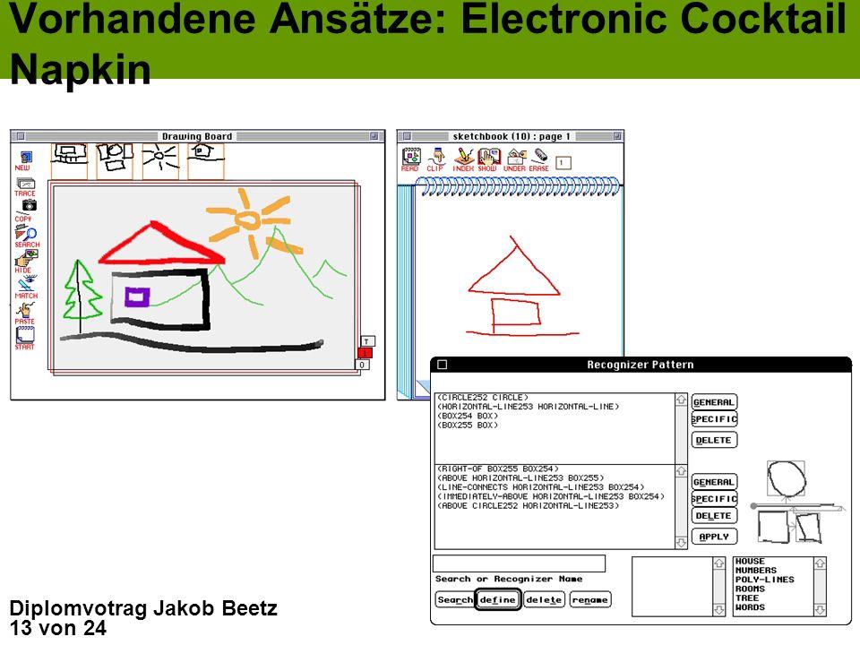 13 von 24 Diplomvotrag Jakob Beetz Vorhandene Ansätze: Electronic Cocktail Napkin