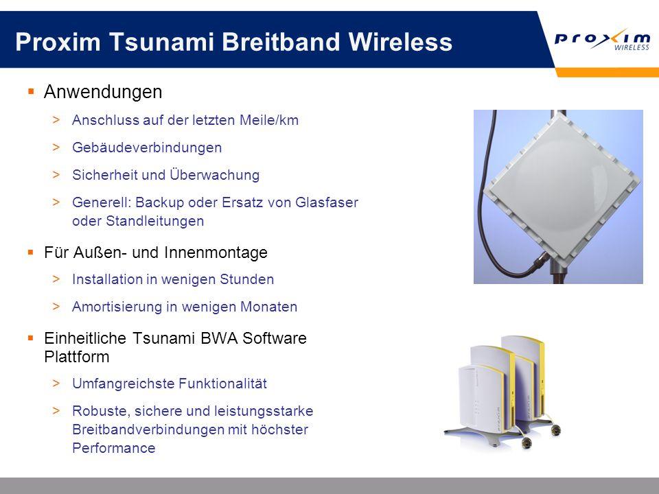 Proxim Tsunami Breitband Wireless Anwendungen >Anschluss auf der letzten Meile/km >Gebäudeverbindungen >Sicherheit und Überwachung >Generell: Backup o