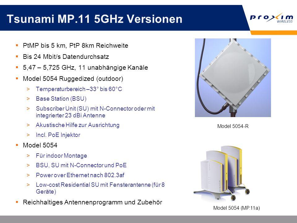 Tsunami MP.11 5GHz Versionen PtMP bis 5 km, PtP 8km Reichweite Bis 24 Mbit/s Datendurchsatz 5,47 – 5,725 GHz, 11 unabhängige Kanäle Model 5054 Ruggedi