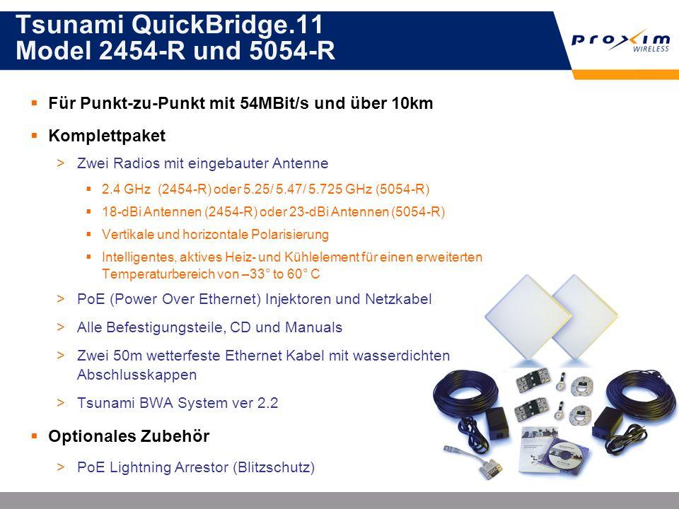 Tsunami QuickBridge.11 Model 2454-R und 5054-R Für Punkt-zu-Punkt mit 54MBit/s und über 10km Komplettpaket >Zwei Radios mit eingebauter Antenne 2.4 GH