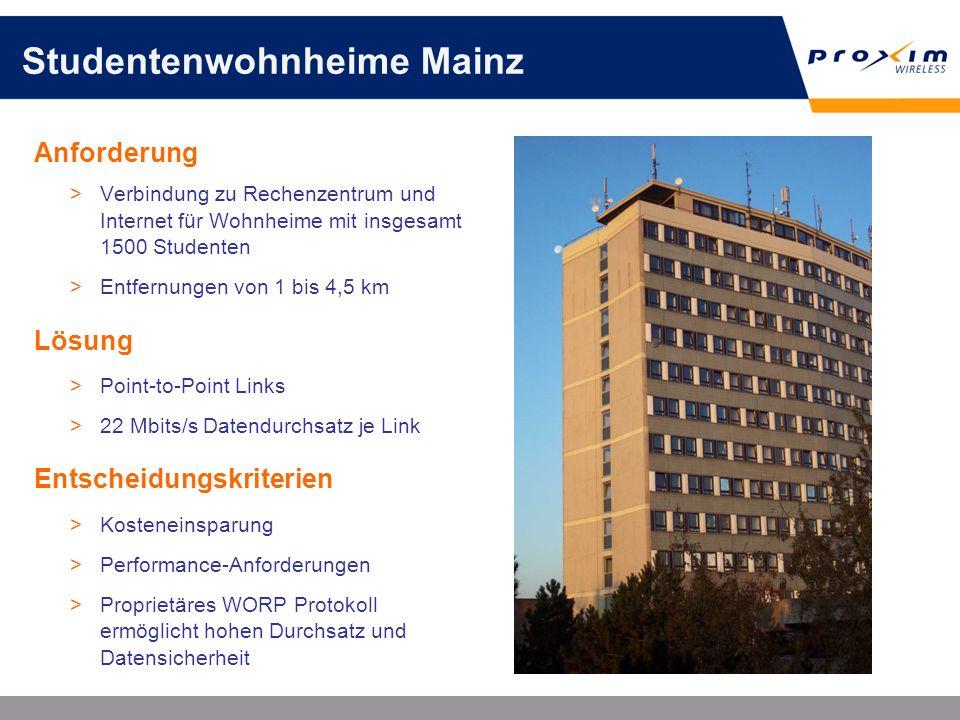 Studentenwohnheime Mainz Anforderung >Verbindung zu Rechenzentrum und Internet für Wohnheime mit insgesamt 1500 Studenten >Entfernungen von 1 bis 4,5