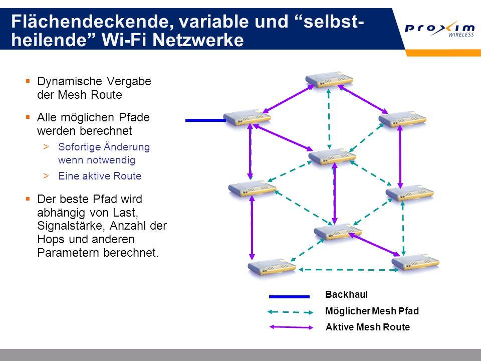 Flächendeckende, variable und selbst- heilende Wi-Fi Netzwerke Dynamische Vergabe der Mesh Route Alle möglichen Pfade werden berechnet >Sofortige Ände