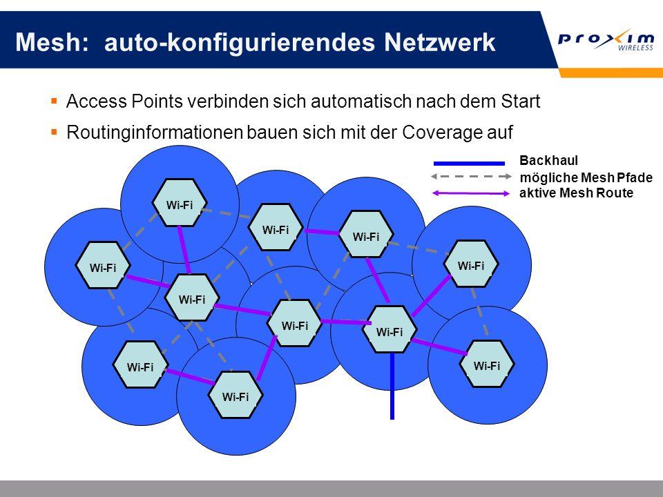 Mesh: auto-konfigurierendes Netzwerk Access Points verbinden sich automatisch nach dem Start Routinginformationen bauen sich mit der Coverage auf Wi-F