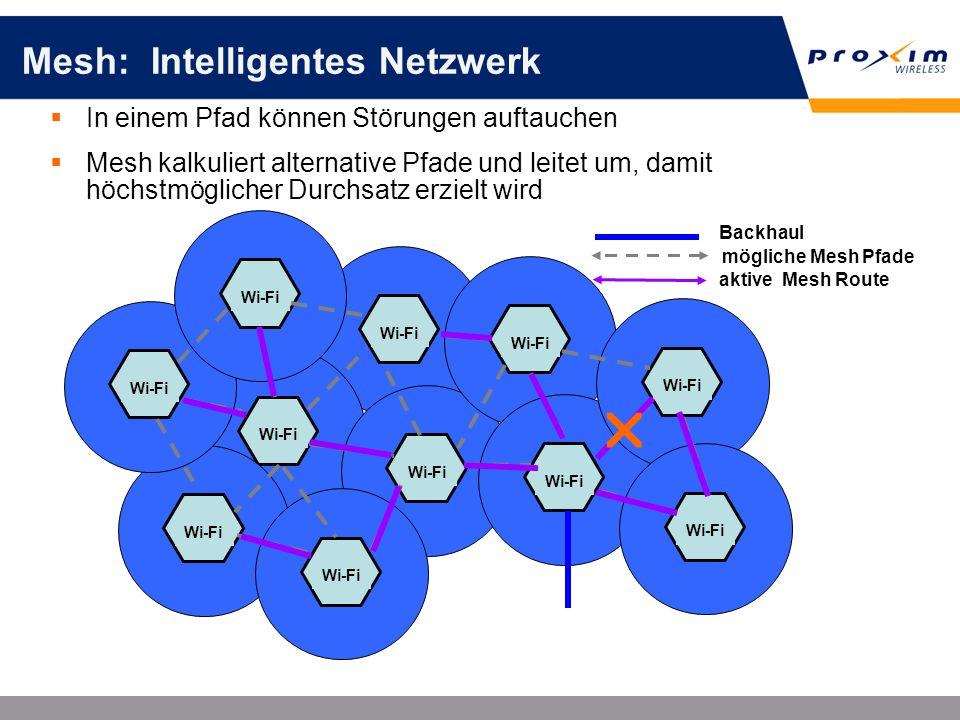 Mesh: Intelligentes Netzwerk Wi-Fi In einem Pfad können Störungen auftauchen Mesh kalkuliert alternative Pfade und leitet um, damit höchstmöglicher Du