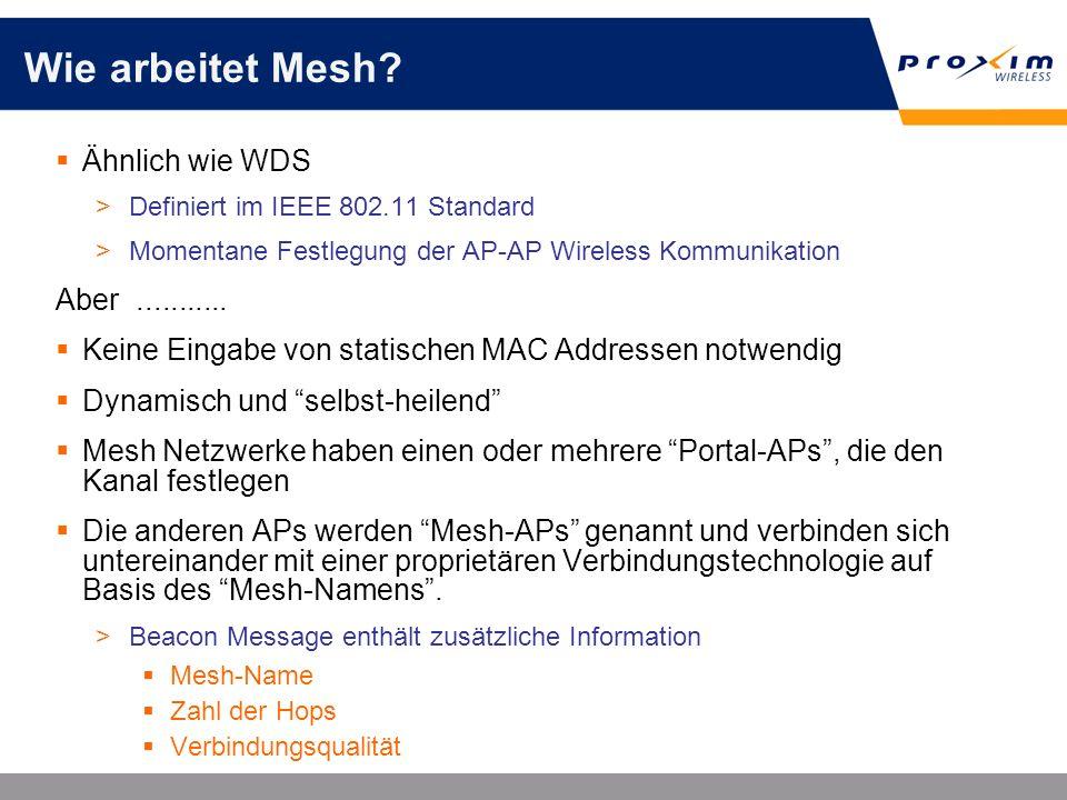 Wie arbeitet Mesh? Ähnlich wie WDS >Definiert im IEEE 802.11 Standard >Momentane Festlegung der AP-AP Wireless Kommunikation Aber........... Keine Ein