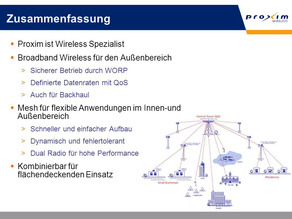 Zusammenfassung Proxim ist Wireless Spezialist Broadband Wireless für den Außenbereich >Sicherer Betrieb durch WORP >Definierte Datenraten mit QoS >Au