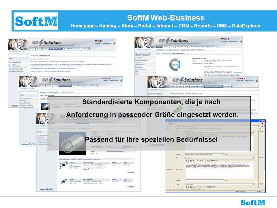 SoftM Web-Business Homepage – Katalog – Shop – Portal – Intranet – CRM – Reports – DMS – DataExplorer Standardisierte Komponenten, die je nach Anforde