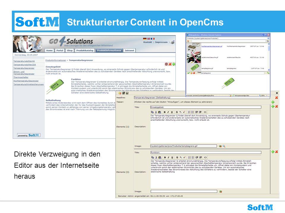 Strukturierter Content in OpenCms Direkte Verzweigung in den Editor aus der Internetseite heraus