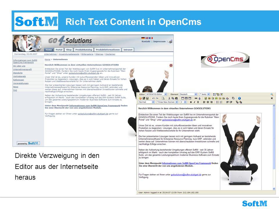 Rich Text Content in OpenCms Direkte Verzweigung in den Editor aus der Internetseite heraus