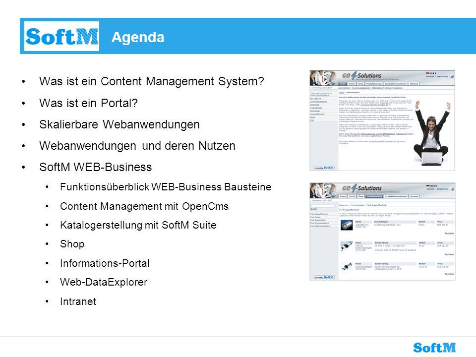 Agenda Was ist ein Content Management System? Was ist ein Portal? Skalierbare Webanwendungen Webanwendungen und deren Nutzen SoftM WEB-Business Funkti