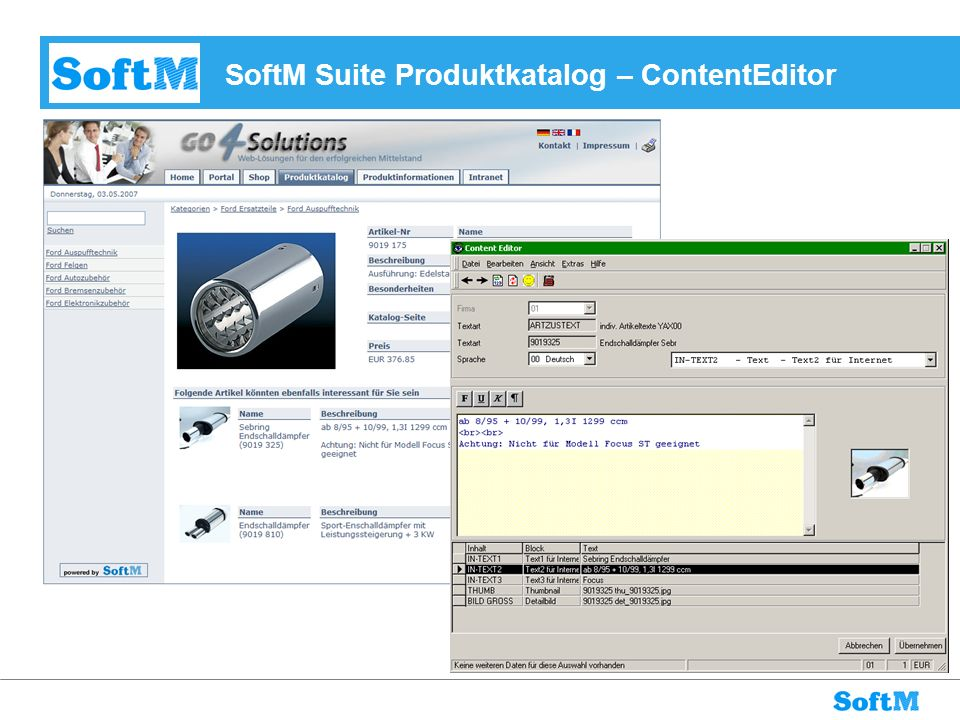 SoftM Suite Produktkatalog – ContentEditor