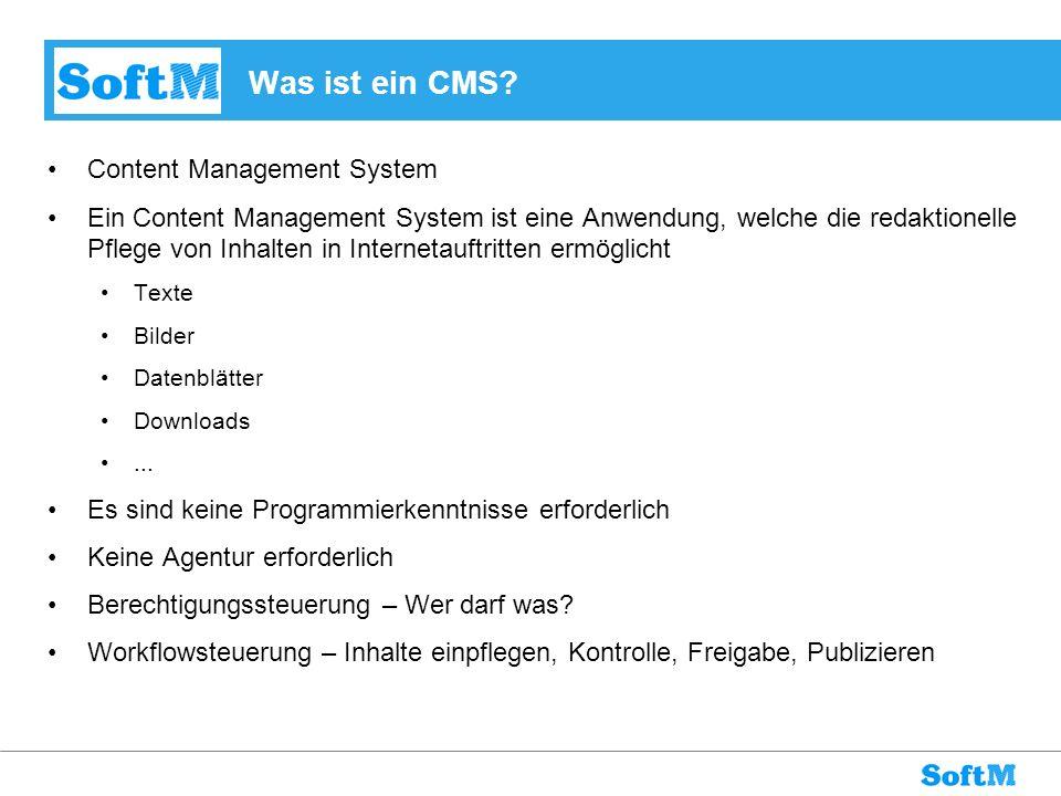 Was ist ein CMS? Content Management System Ein Content Management System ist eine Anwendung, welche die redaktionelle Pflege von Inhalten in Interneta