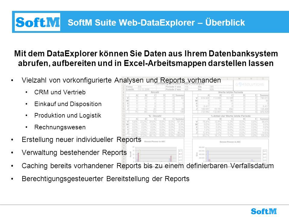 SoftM Suite Web-DataExplorer – Überblick Vielzahl von vorkonfigurierte Analysen und Reports vorhanden CRM und Vertrieb Einkauf und Disposition Produkt