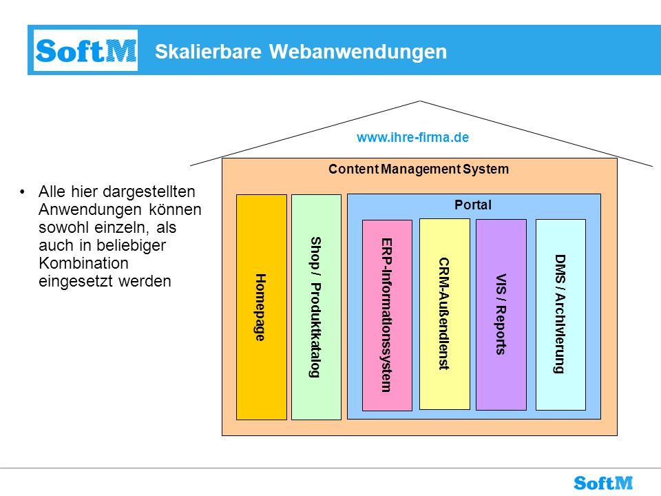 Content Management System www.ihre-firma.de Skalierbare Webanwendungen Homepage Portal Shop / Produktkatalog VIS / Reports DMS / Archivierung CRM-Auße