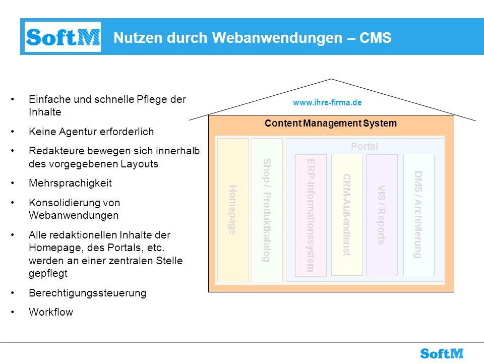 Nutzen durch Webanwendungen – CMS Einfache und schnelle Pflege der Inhalte Keine Agentur erforderlich Redakteure bewegen sich innerhalb des vorgegeben