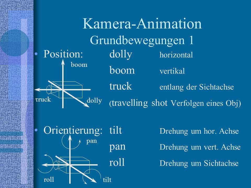 Position:dolly horizontal boom vertikal truck entlang der Sichtachse ( travelling shot Verfolgen eines Obj) Orientierung:tilt Drehung um hor.
