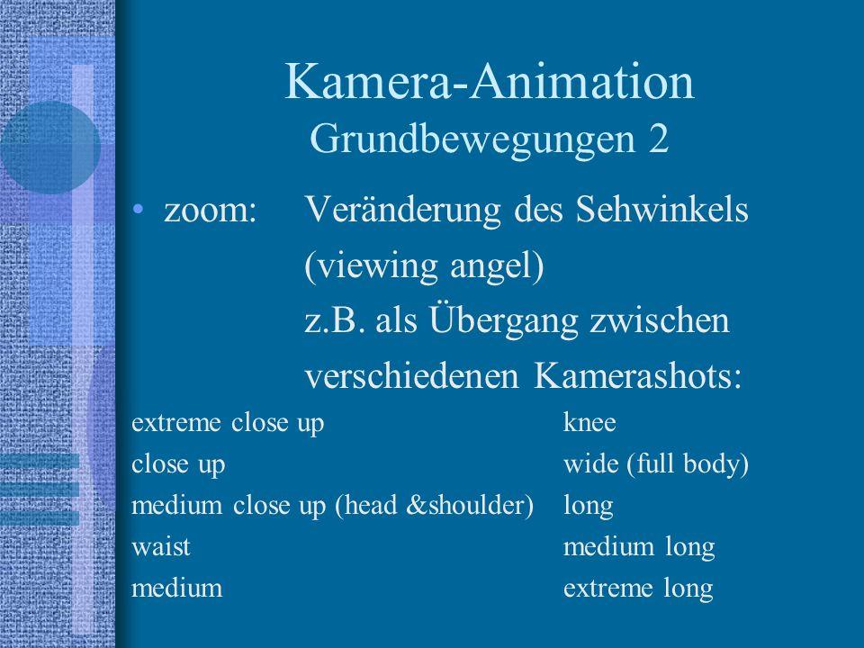 Kamera-Animation Grundbewegungen 2 zoom:Veränderung des Sehwinkels (viewing angel) z.B.