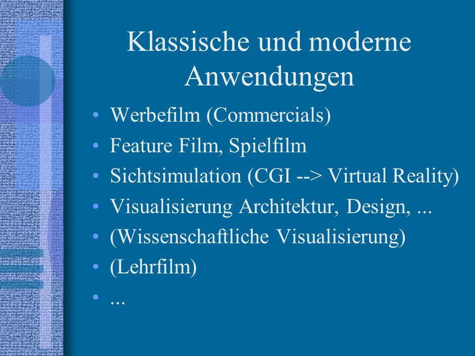 Klassische und moderne Anwendungen Werbefilm (Commercials) Feature Film, Spielfilm Sichtsimulation (CGI --> Virtual Reality) Visualisierung Architektur, Design,...