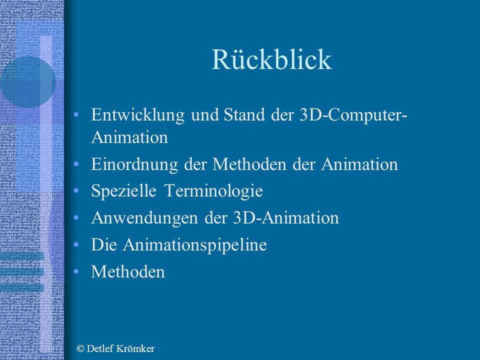 Rückblick Entwicklung und Stand der 3D-Computer- Animation Einordnung der Methoden der Animation Spezielle Terminologie Anwendungen der 3D-Animation Die Animationspipeline Methoden © Detlef Krömker