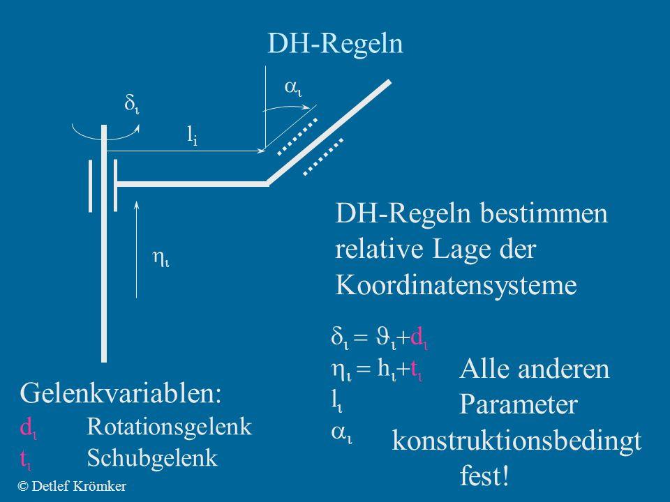 DH-Regeln © Detlef Krömker lili DH-Regeln bestimmen relative Lage der Koordinatensysteme d h t l Gelenkvariablen: d Rotationsgelenk t Schubgelenk Alle anderen Parameter konstruktionsbedingt fest!