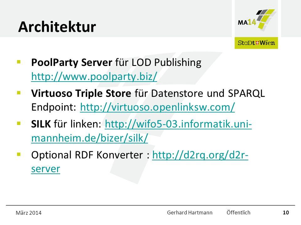 Architektur PoolParty Server für LOD Publishing http://www.poolparty.biz/ http://www.poolparty.biz/ Virtuoso Triple Store für Datenstore und SPARQL Endpoint: http://virtuoso.openlinksw.com/http://virtuoso.openlinksw.com/ SILK für linken: http://wifo5-03.informatik.uni- mannheim.de/bizer/silk/http://wifo5-03.informatik.uni- mannheim.de/bizer/silk/ Optional RDF Konverter : http://d2rq.org/d2r- serverhttp://d2rq.org/d2r- server März 2014Gerhard Hartmann Öffentlich10