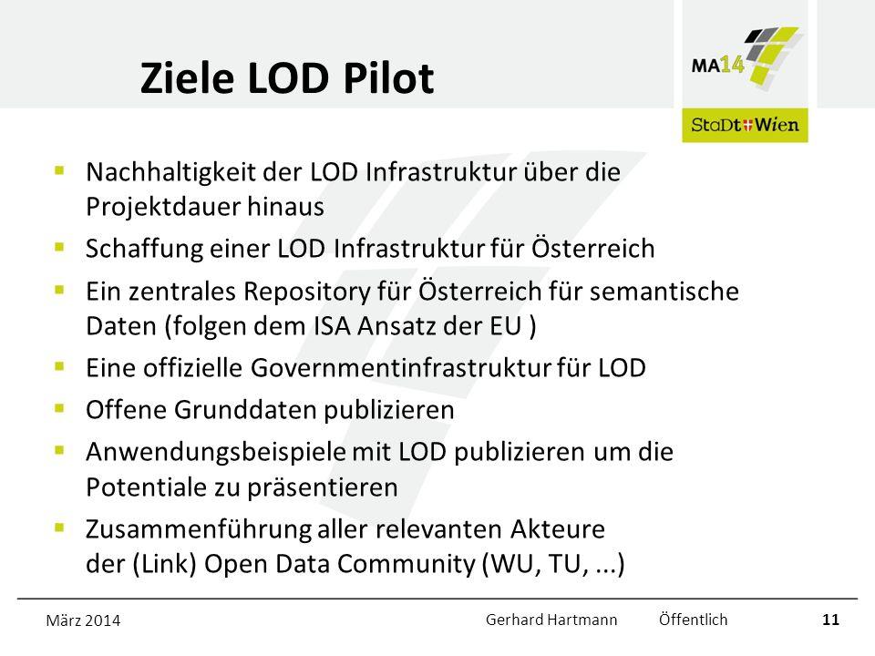 Ziele LOD Pilot Nachhaltigkeit der LOD Infrastruktur über die Projektdauer hinaus Schaffung einer LOD Infrastruktur für Österreich Ein zentrales Repository für Österreich für semantische Daten (folgen dem ISA Ansatz der EU ) Eine offizielle Governmentinfrastruktur für LOD Offene Grunddaten publizieren Anwendungsbeispiele mit LOD publizieren um die Potentiale zu präsentieren Zusammenführung aller relevanten Akteure der (Link) Open Data Community (WU, TU,...) März 2014Gerhard Hartmann Öffentlich11