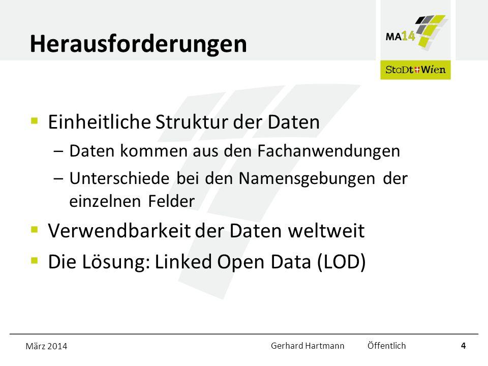 Herausforderungen Einheitliche Struktur der Daten –Daten kommen aus den Fachanwendungen –Unterschiede bei den Namensgebungen der einzelnen Felder Verwendbarkeit der Daten weltweit Die Lösung: Linked Open Data (LOD) März 2014Gerhard Hartmann Öffentlich4