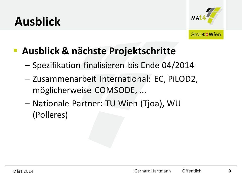 Ausblick Ausblick & nächste Projektschritte –Spezifikation finalisieren bis Ende 04/2014 –Zusammenarbeit International: EC, PiLOD2, möglicherweise COMSODE,...