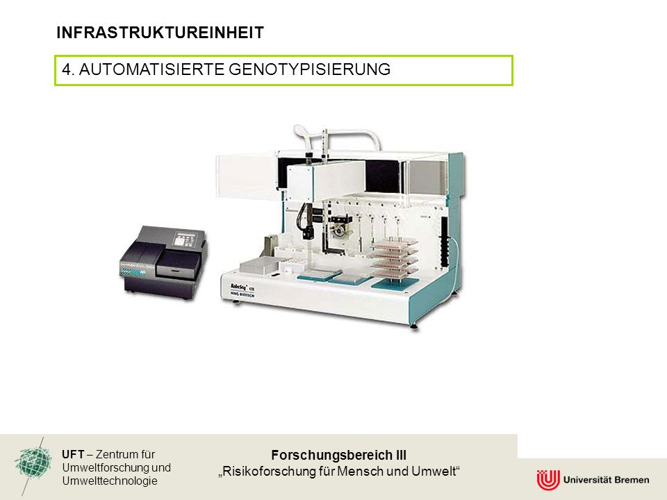 UFT – Zentrum für Umweltforschung und Umwelttechnologie Forschungsbereich III Risikoforschung für Mensch und Umwelt INFRASTRUKTUREINHEIT 4.