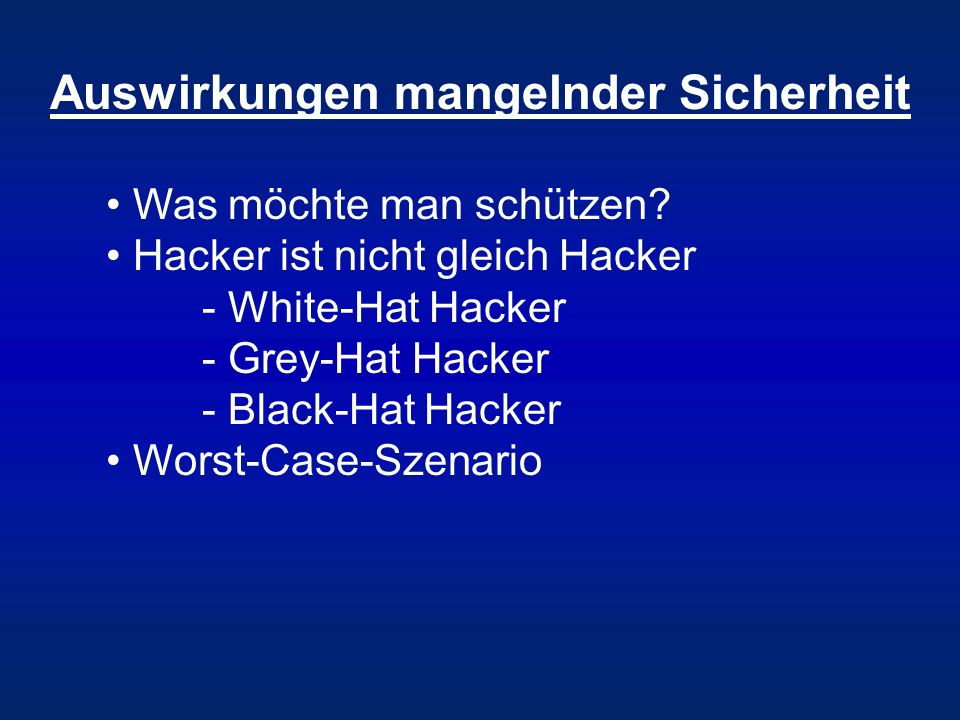 Angriffe auf Web-Anwendungen Unsichere Konfiguration Cross-Site-Scripting (XSS) Cross Site Request Forgery (CSRF) Clickjacking & Weiterleitungen Path-Traversal-Schwachstellen Unsichere direkte Objektreferenzen Session-Hijacking SQL-Injection DoS/ReDoS-Angriffe