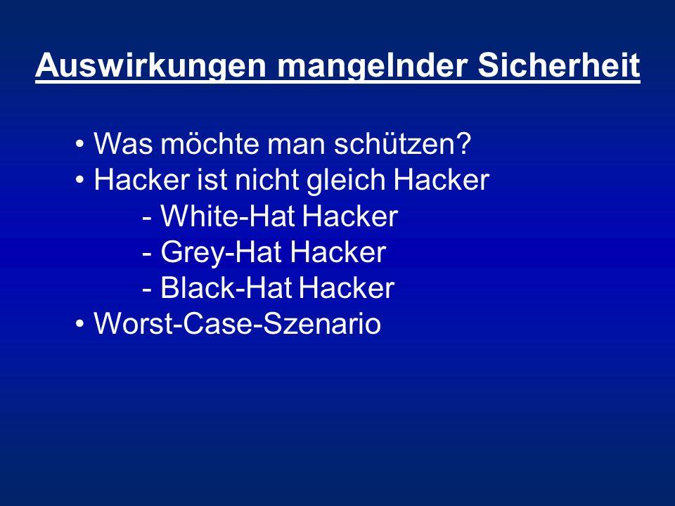 Auswirkungen mangelnder Sicherheit Was möchte man schützen? Hacker ist nicht gleich Hacker - White-Hat Hacker - Grey-Hat Hacker - Black-Hat Hacker Wor