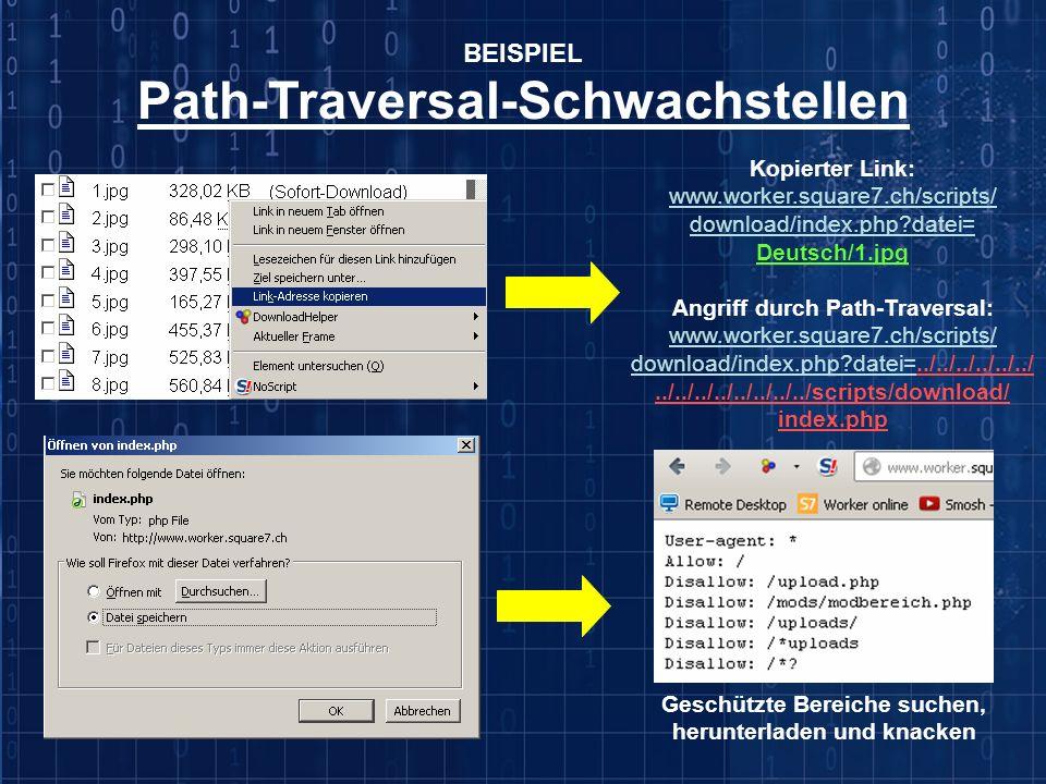 BEISPIEL Path-Traversal-Schwachstellen Kopierter Link: www.worker.square7.ch/scripts/ download/index.php?datei= Deutsch/1.jpg Angriff durch Path-Trave