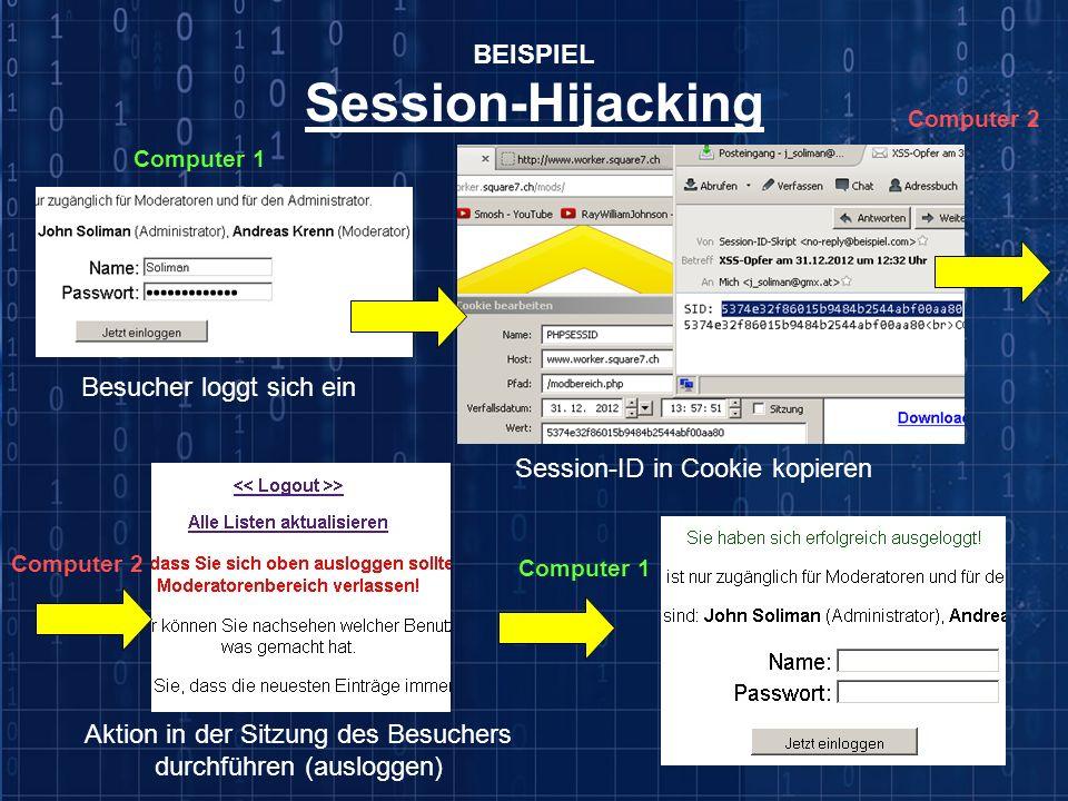 BEISPIEL Session-Hijacking Besucher loggt sich ein Session-ID in Cookie kopieren Aktion in der Sitzung des Besuchers durchführen (ausloggen) Computer