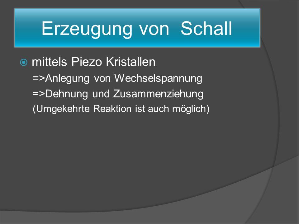 Erzeugung von Schall mittels Piezo Kristallen =>Anlegung von Wechselspannung =>Dehnung und Zusammenziehung (Umgekehrte Reaktion ist auch möglich)