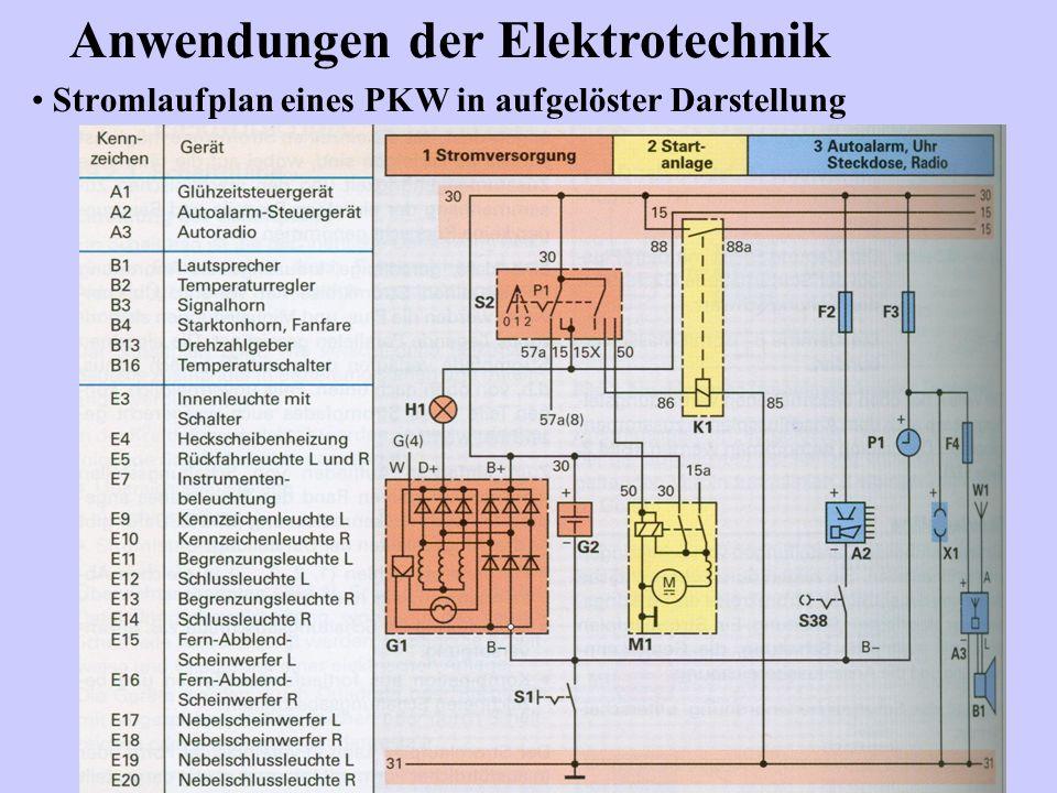 Stromlaufplan eines PKW in aufgelöster Darstellung Anwendungen der Elektrotechnik