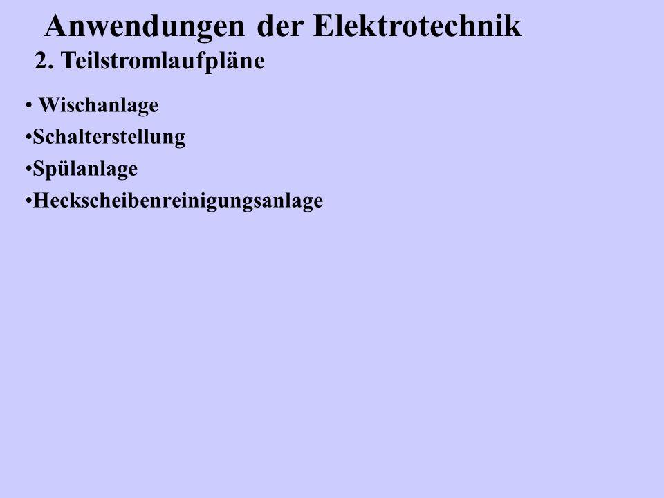 Wischanlage Schalterstellung Spülanlage Heckscheibenreinigungsanlage Anwendungen der Elektrotechnik 2. Teilstromlaufpläne