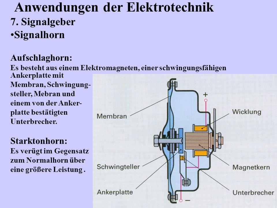 Anwendungen der Elektrotechnik 7. Signalgeber Signalhorn Aufschlaghorn: Es besteht aus einem Elektromagneten, einer schwingungsfähigen Ankerplatte mit