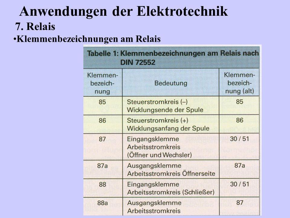 Anwendungen der Elektrotechnik 7. Relais Klemmenbezeichnungen am Relais