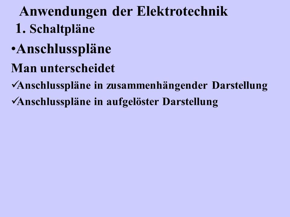 Anschlusspläne Man unterscheidet Anschlusspläne in zusammenhängender Darstellung Anschlusspläne in aufgelöster Darstellung Anwendungen der Elektrotech