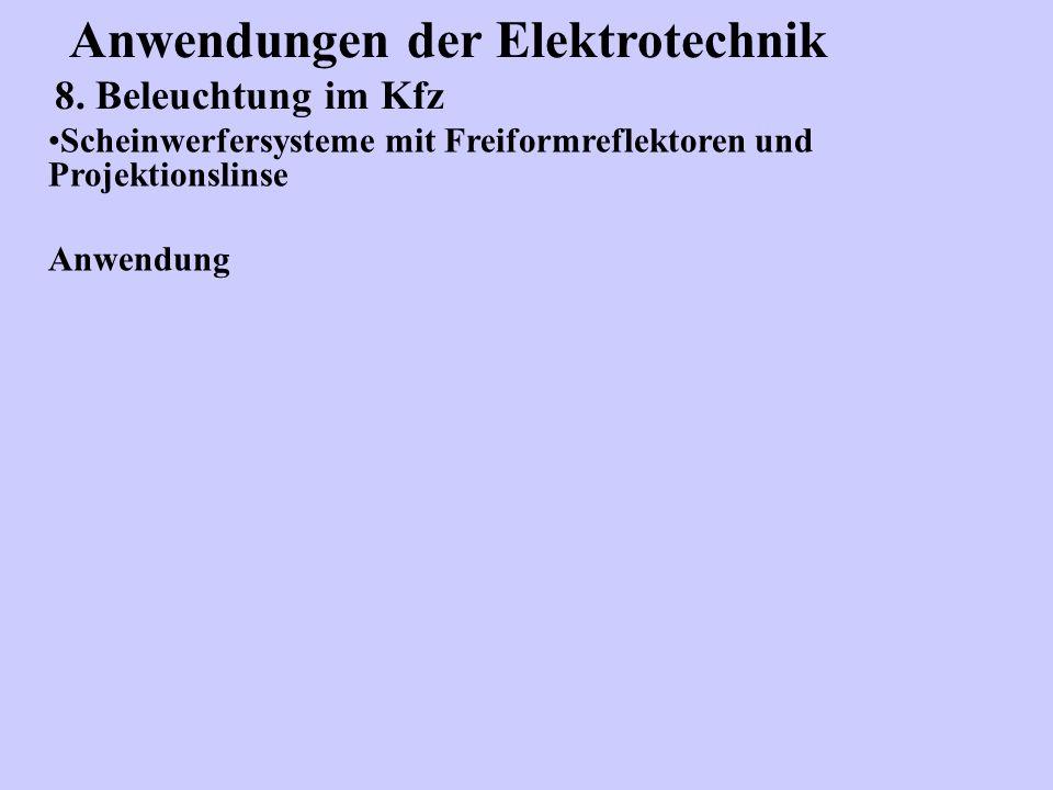 Anwendungen der Elektrotechnik 8. Beleuchtung im Kfz Scheinwerfersysteme mit Freiformreflektoren und Projektionslinse Anwendung
