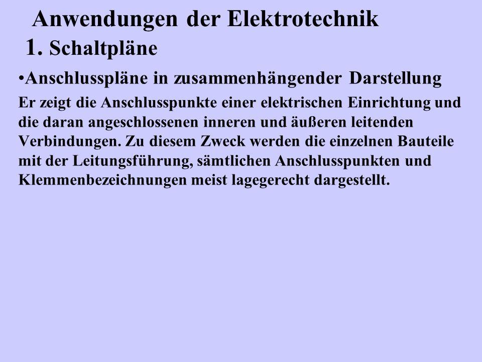 Anschlusspläne in zusammenhängender Darstellung Er zeigt die Anschlusspunkte einer elektrischen Einrichtung und die daran angeschlossenen inneren und
