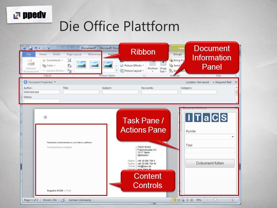 Document Information Panel Darstellung von externen Metadaten Vollständige Integration in SharePoint Aufbau dynamischer Dokumente Basiert auf InfoPath Vollständig anpassbar