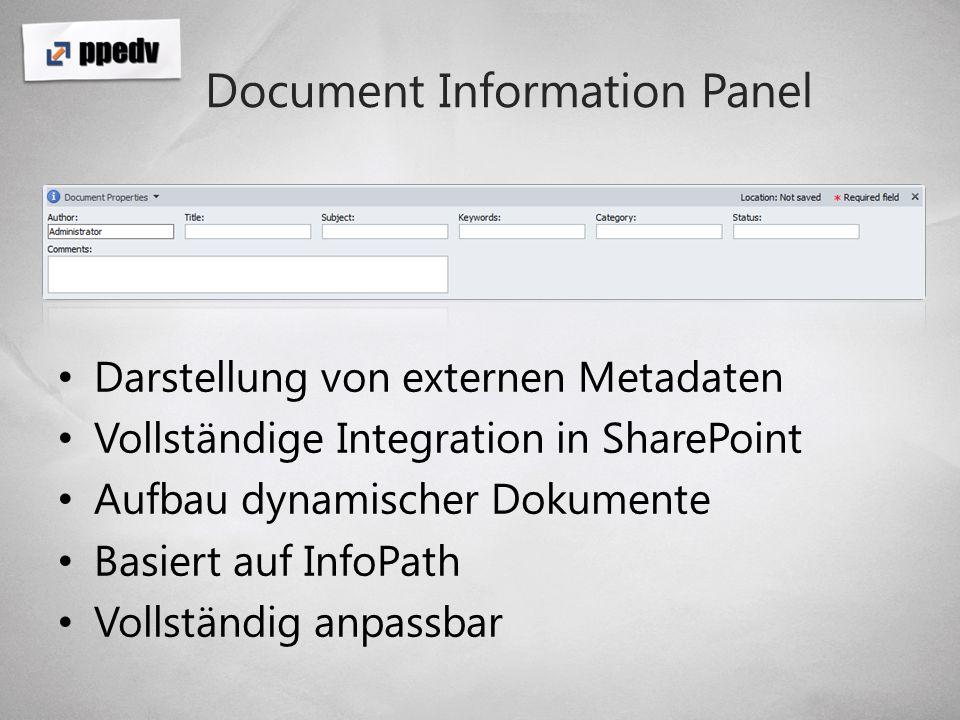 Die Office Plattform Ribbon Document Information Panel Content Controls Task Pane / Actions Pane