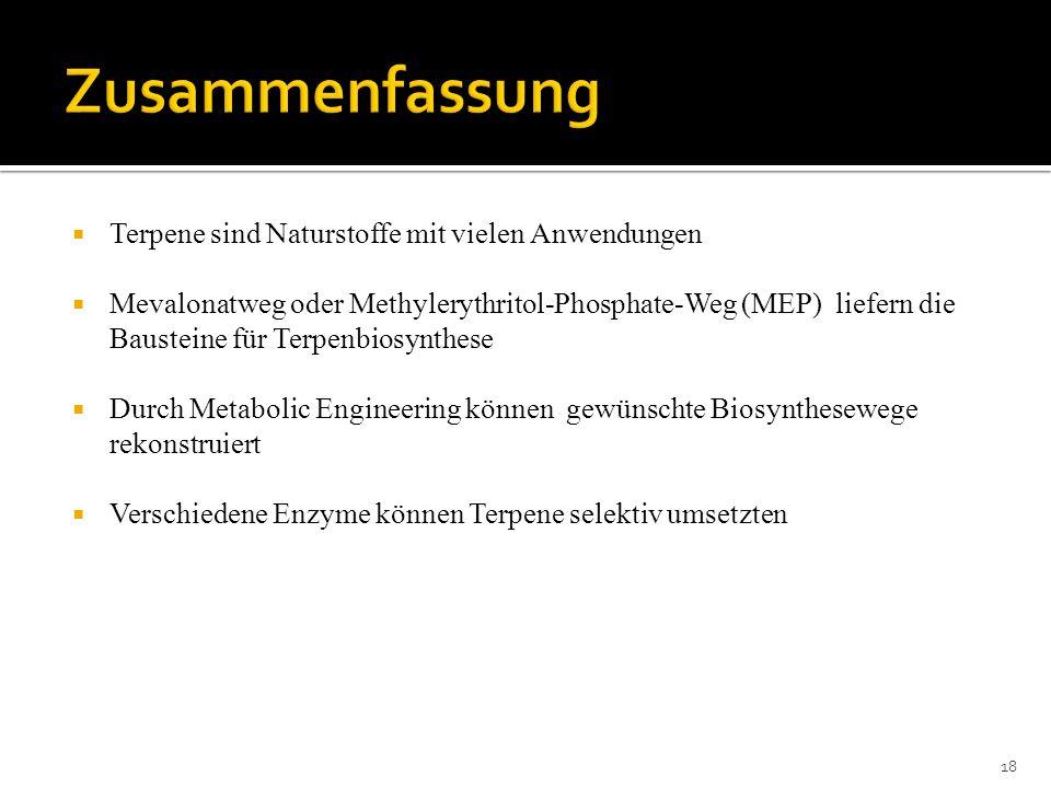 Terpene sind Naturstoffe mit vielen Anwendungen Mevalonatweg oder Methylerythritol-Phosphate-Weg (MEP) liefern die Bausteine für Terpenbiosynthese Dur