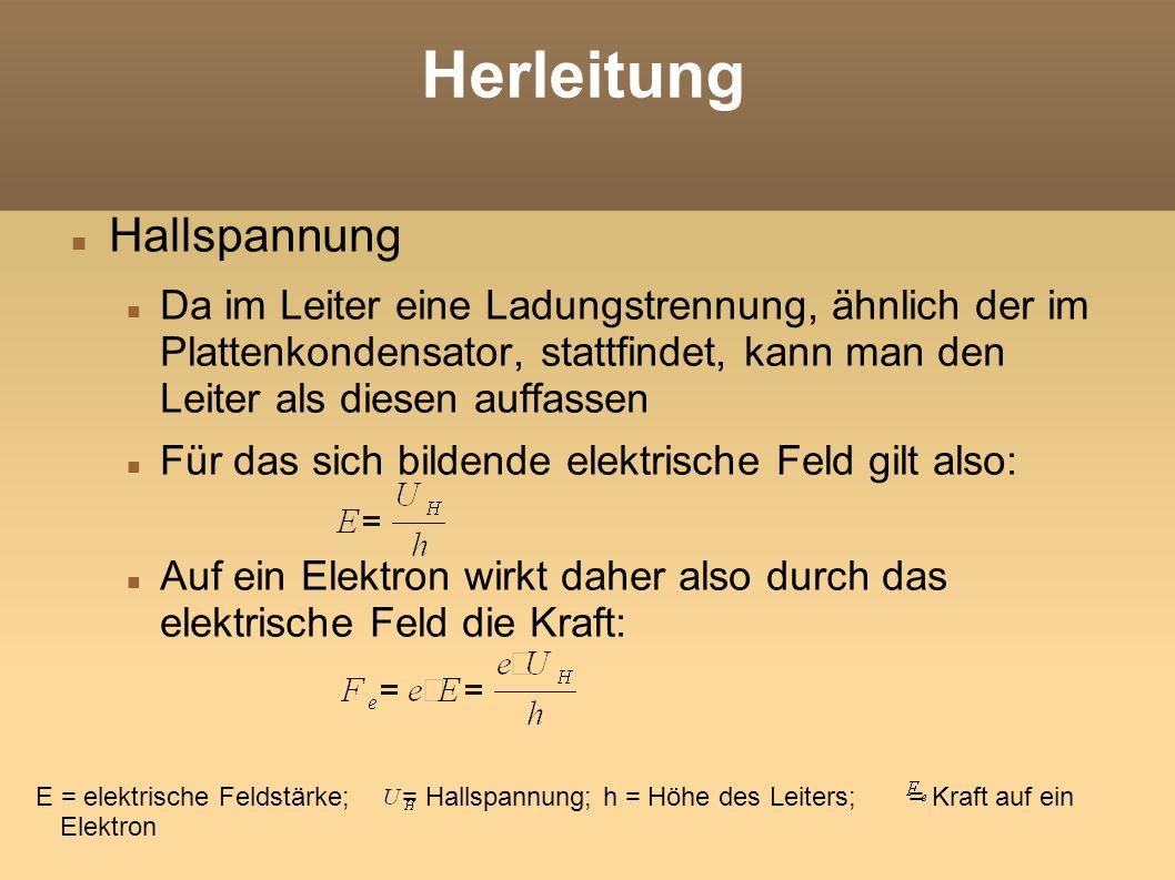 Herleitung Da sich im Leiter Lorentzkraft und die Kraft des elektrischen Feldes einpendeln gilt: