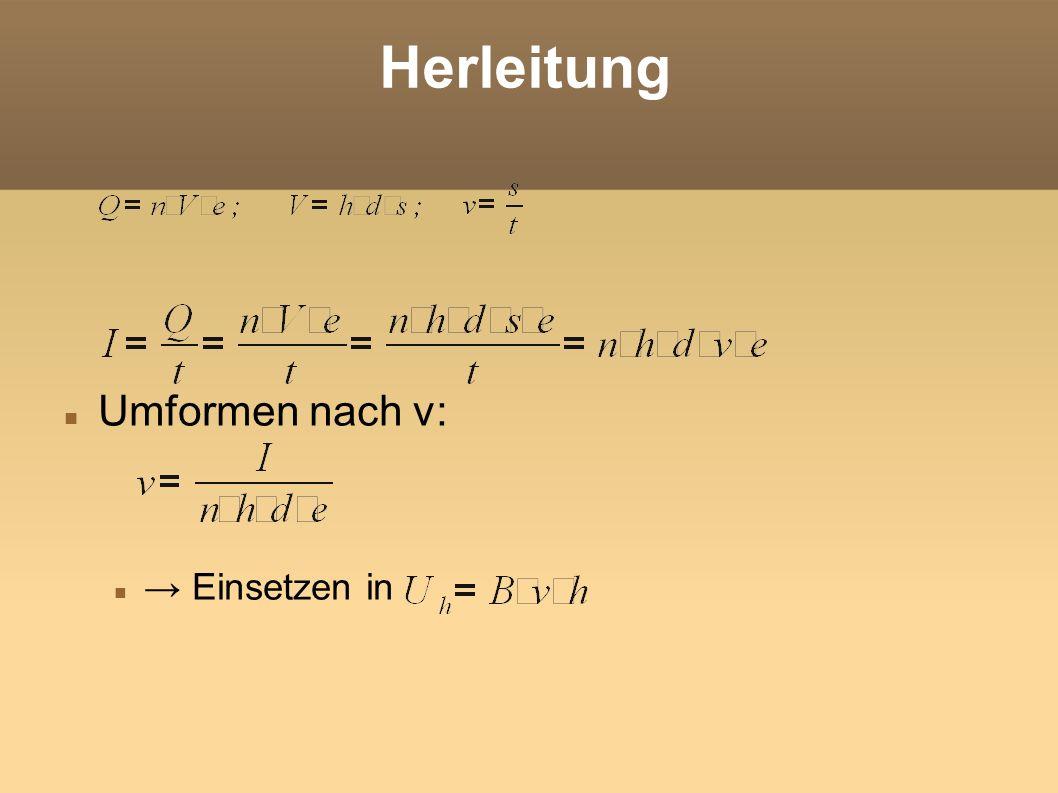 Herleitung Hallkonstante: Hallspannung