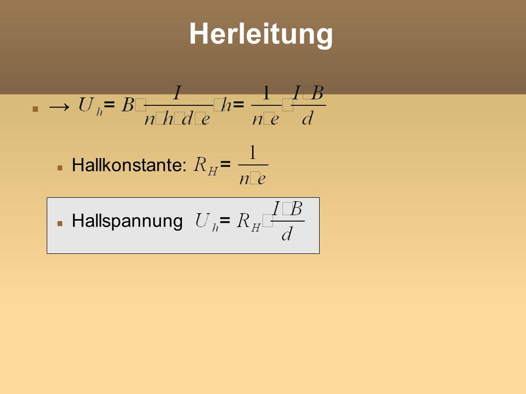 Beispiel Ein Kupferplättchen hat die Höhe h = 0,5cm, die Dicke d = 0,01mm und wird von der Stromstärke I = 8A durchflossen.