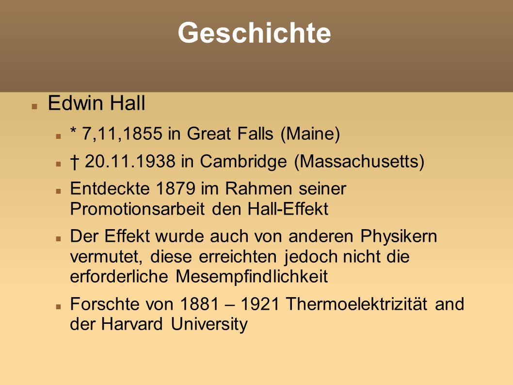 Geschichte Hall experimentierte mit dünnen Goldfolien auf Glasplatten, an denen er die Spannung an Punkten der Länge nach abgriff