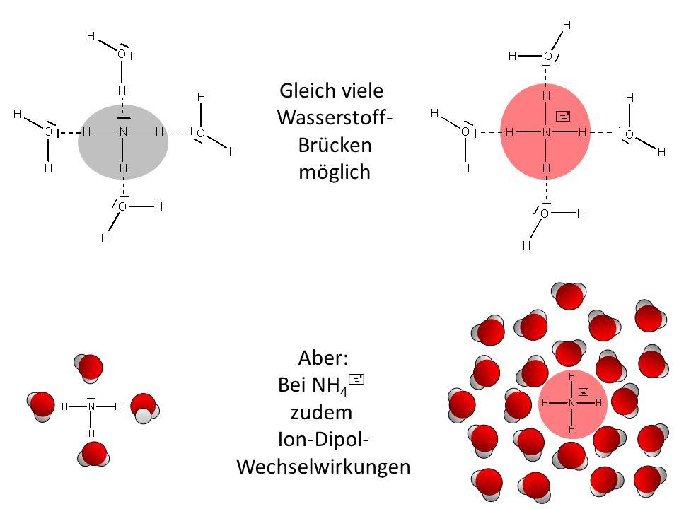 Aber: Bei NH 4 + zudem Ion-Dipol- Wechselwirkungen Gleich viele Wasserstoff- Brücken möglich